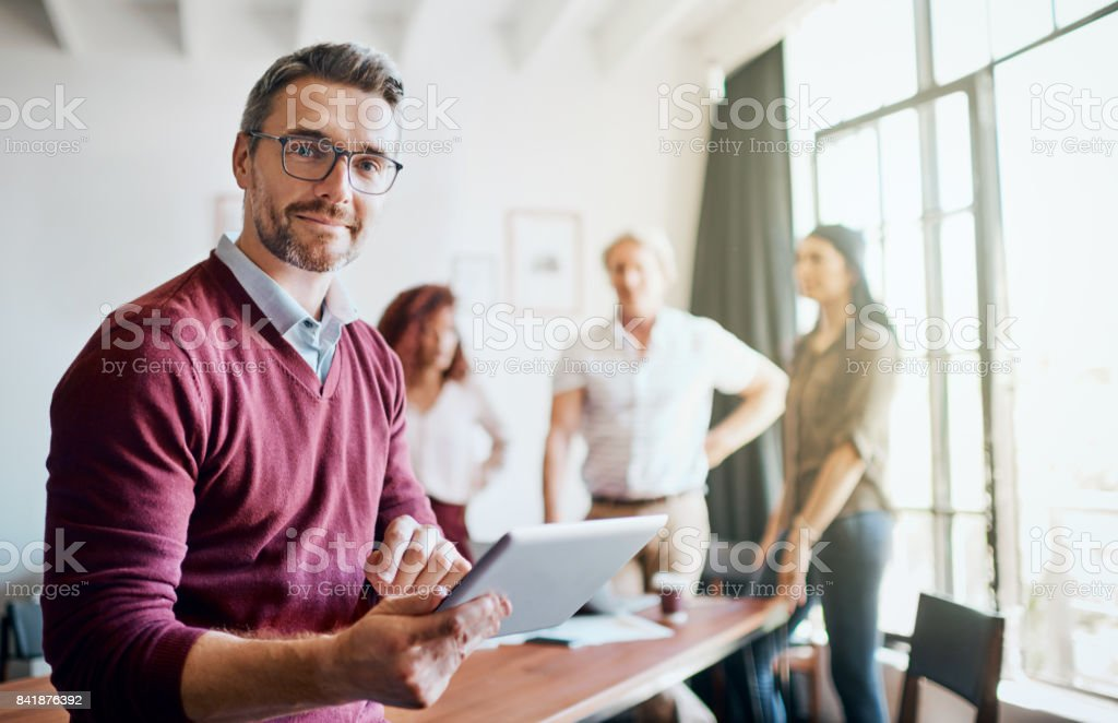 The ideas fly around in the office stock photo