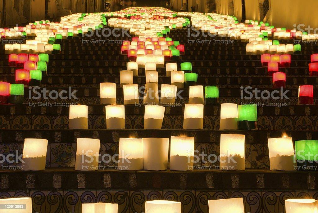 the illuminate stairase of Caltagirone stock photo