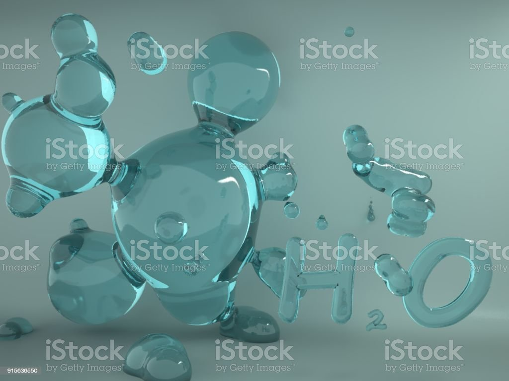 The illustration of bio infographics background with water molecule in transparent style. Ecology, biology and biochemistry concept. stock photo