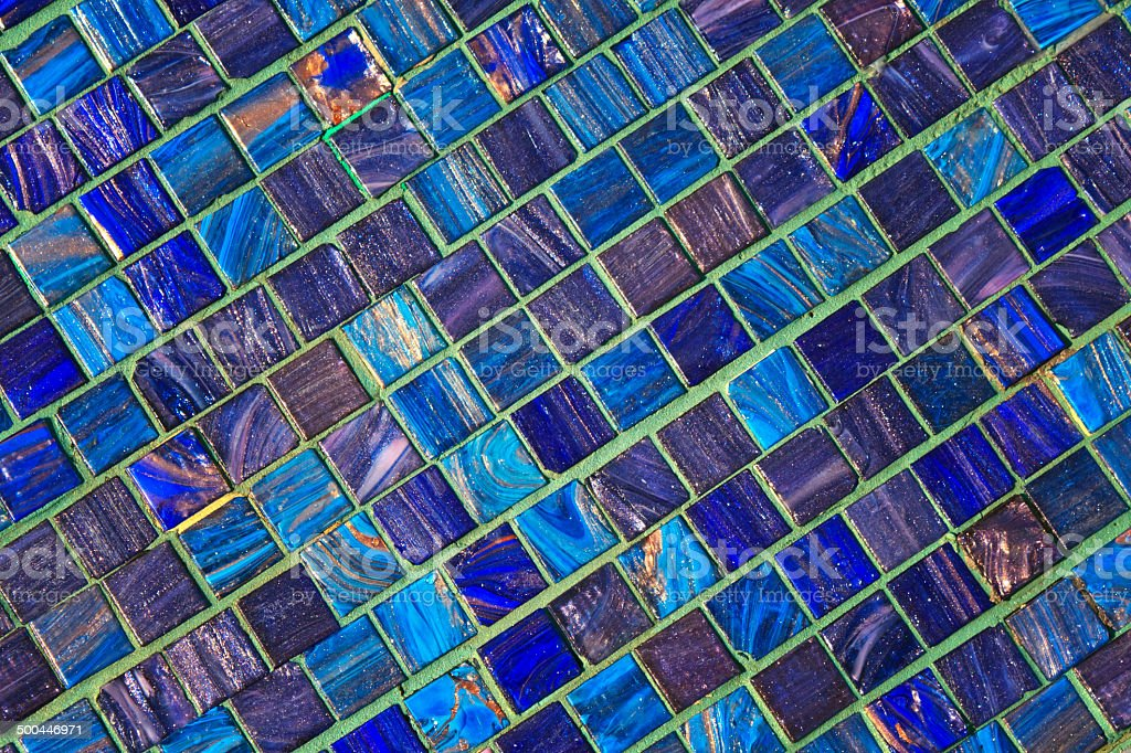 The image of a blue ceramic tile close up stock photo