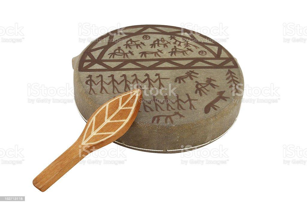 The image of shaman tambourine stock photo