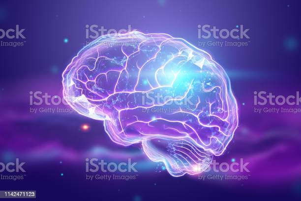 The image of the human brain a hologram a dark background the concept picture id1142471123?b=1&k=6&m=1142471123&s=612x612&h=ztwp34zhvfc7pxpypr1mz73pfkvo kk9wsvf2pxywic=