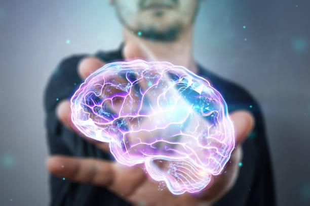 bilden av den mänskliga hjärnan, ett hologram, en mörk bakgrund. begreppet artificiell intelligens, neurala nätverk, robotization, maskin inlärning. 3d-illustration, kopiera utrymme. - brain magnifying bildbanksfoton och bilder