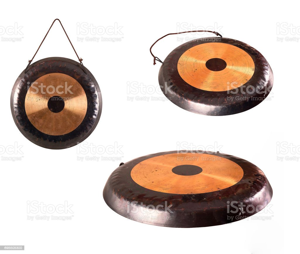 the image of the old traditional gong. stock photo