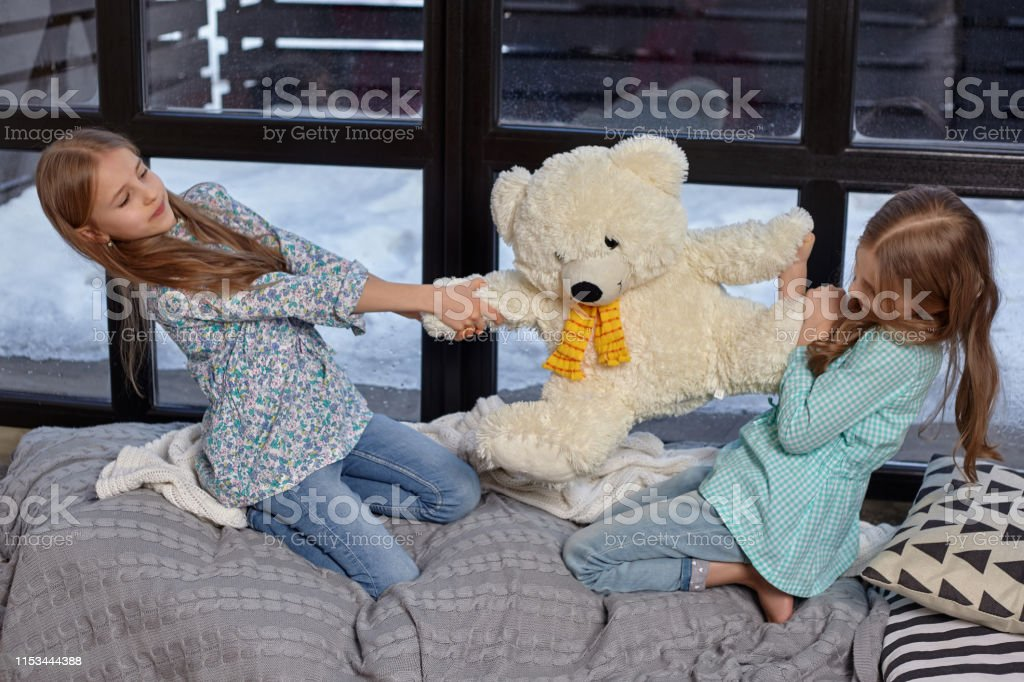 The image of two cute little sisters fighting for a big toy bear....