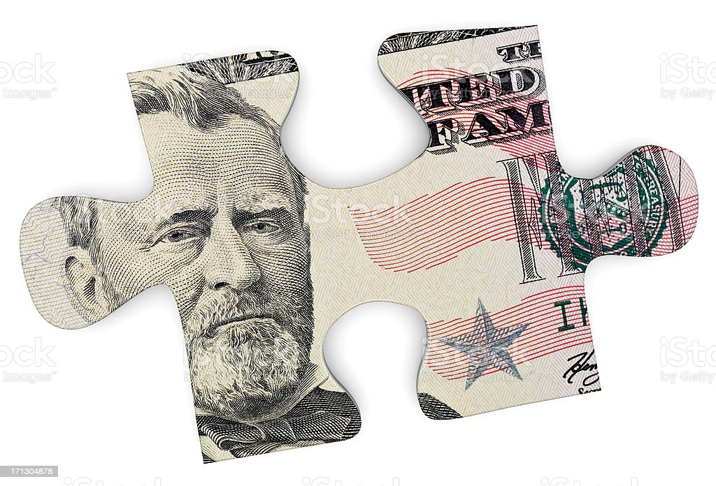 The image of Ulysses S. Grant within a puzzle piece royalty-free stock photo
