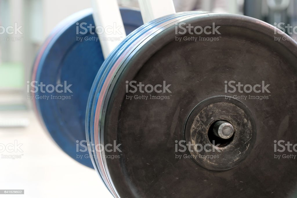 The image of weight plates stock photo