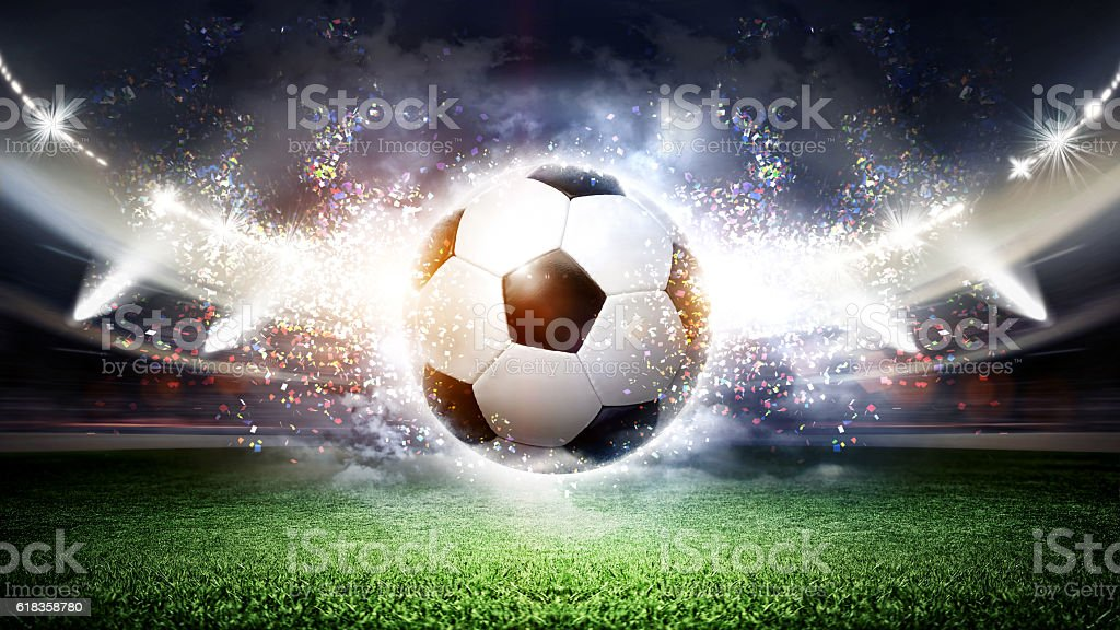 The imaginary soccer stadium and ball, 3d rendering stock photo