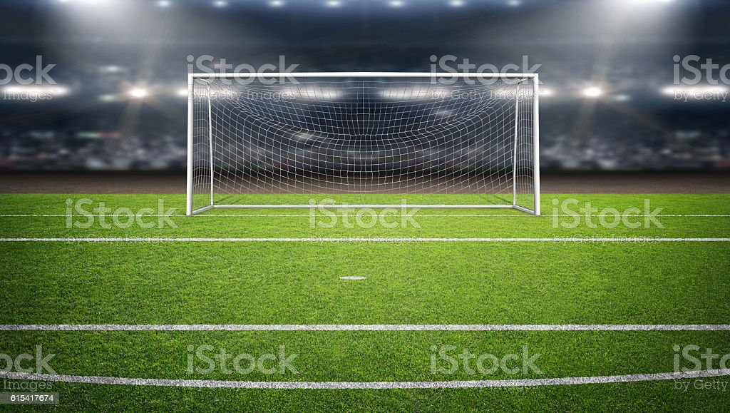 The imaginary soccer stadium and goalpost, 3d rendering - foto de stock