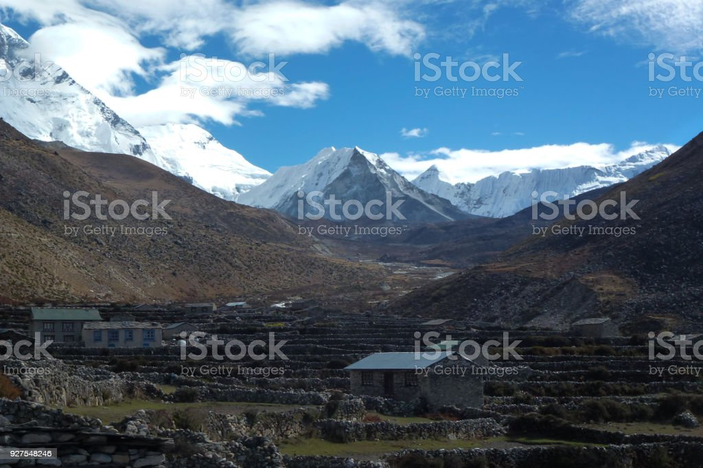 The Imja Tse, Island Peak, seen from Dingboche, Everest Base Camp trek, Nepal stock photo