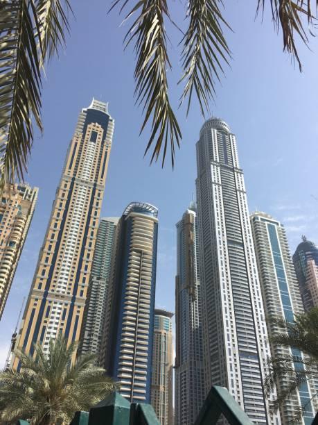 The immense skyscrapers of Dubai. stock photo