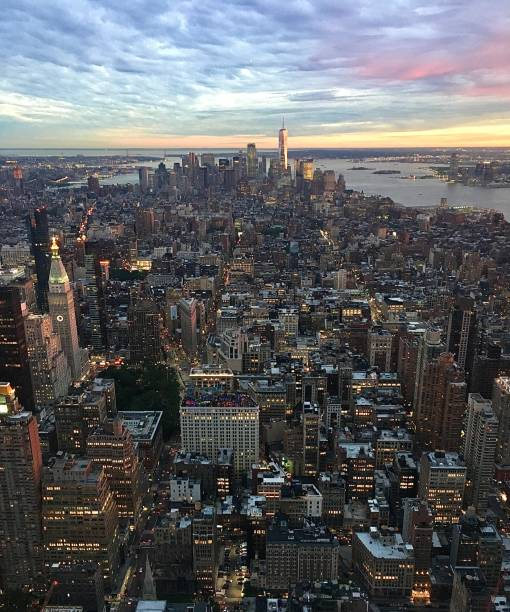 The impressive vibrant colours of the sky over New York. stock photo