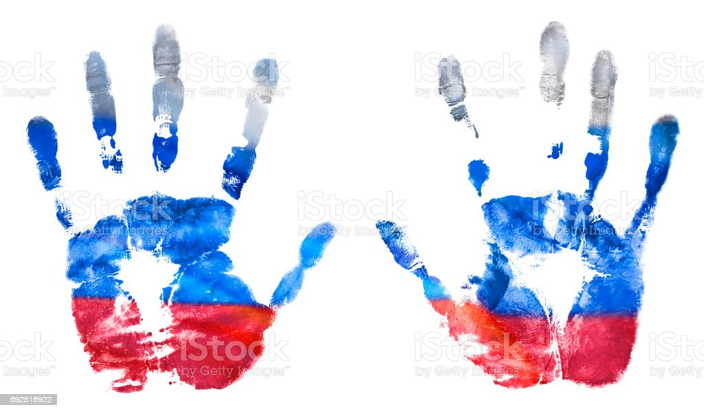 The imprint of the hands of the Russian flag colors, gouache. The flag of the Russian Federation stock photo