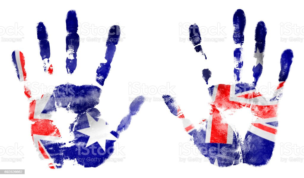The imprint two hands in the colors of Australian flag stock photo