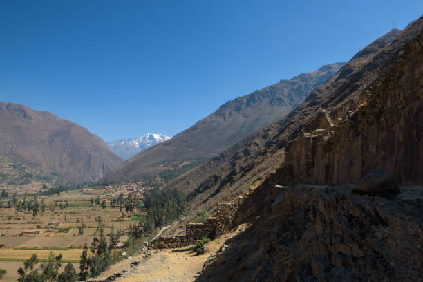 The Inca ruins of Ollantaytambo in the Sacred Valley near Cusco stock photo