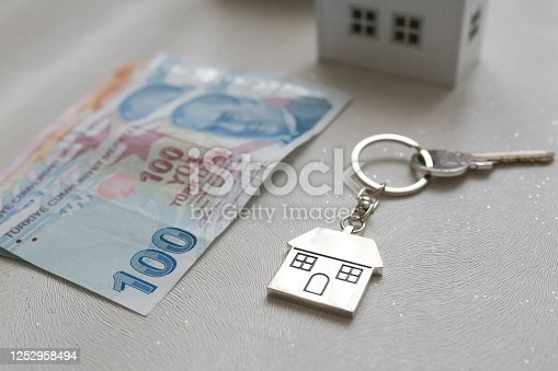 1164727411 istock photo The increase in real estate sales in Turkey. turkish lira and small house 1252958494