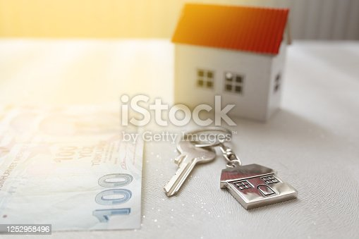 1164727411 istock photo The increase in real estate sales in Turkey. turkish lira and small house 1252958496