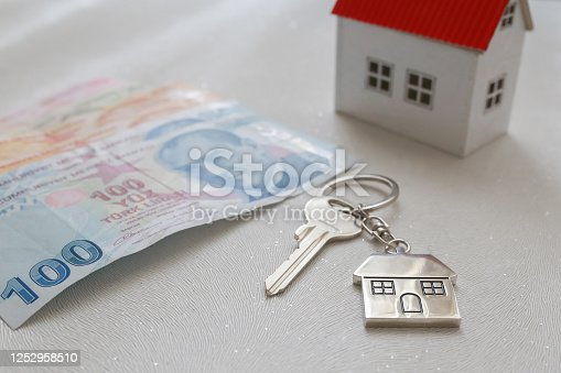 1164727411 istock photo The increase in real estate sales in Turkey. turkish lira and small house 1252958510