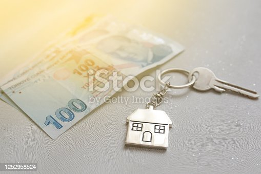 1164727411 istock photo The increase in real estate sales in Turkey. turkish lira and small house 1252958524