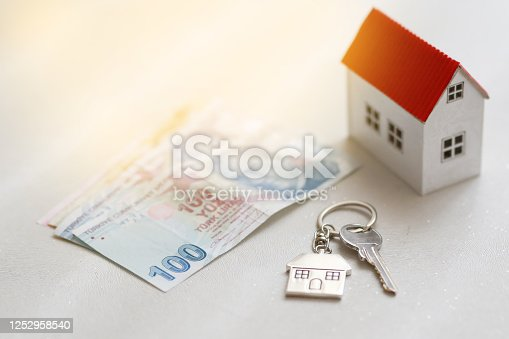 1164727411 istock photo The increase in real estate sales in Turkey. turkish lira and small house 1252958540