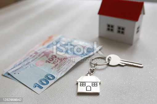 1164727411 istock photo The increase in real estate sales in Turkey. turkish lira and small house 1252958542