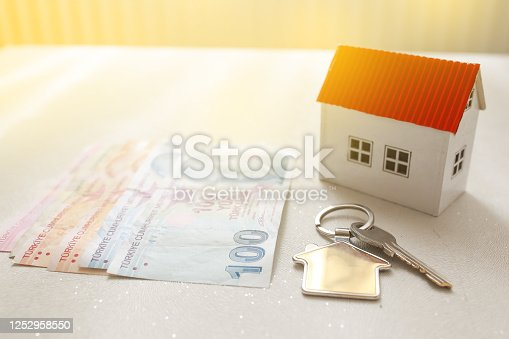 1164727411 istock photo The increase in real estate sales in Turkey. turkish lira and small house 1252958550