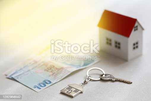 1164727411 istock photo The increase in real estate sales in Turkey. turkish lira and small house 1252958552