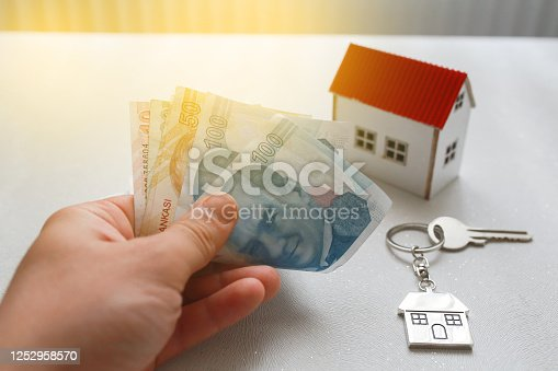 1164727411 istock photo The increase in real estate sales in Turkey. turkish lira and small house 1252958570