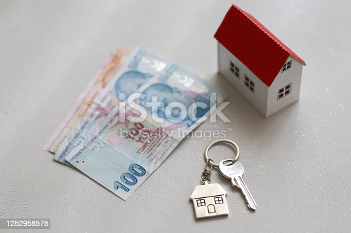 1164727411 istock photo The increase in real estate sales in Turkey. turkish lira and small house 1252958575