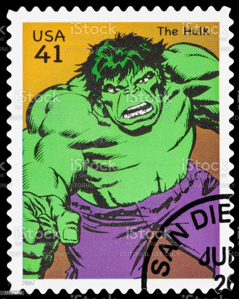 USA The Incredible Hulk postage stamp royalty-free stock photo