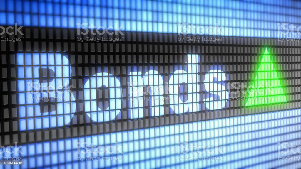 The Index of Bonds on The Screen. stock photo