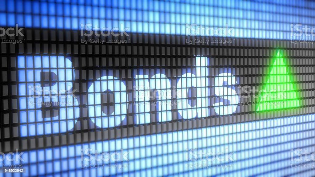 De Index van de obligaties op het scherm. foto
