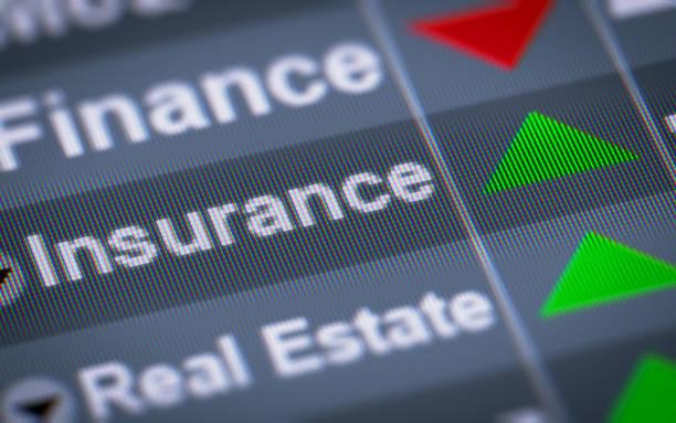 el índice de seguro en la pantalla. - indemnización compensación fotografías e imágenes de stock