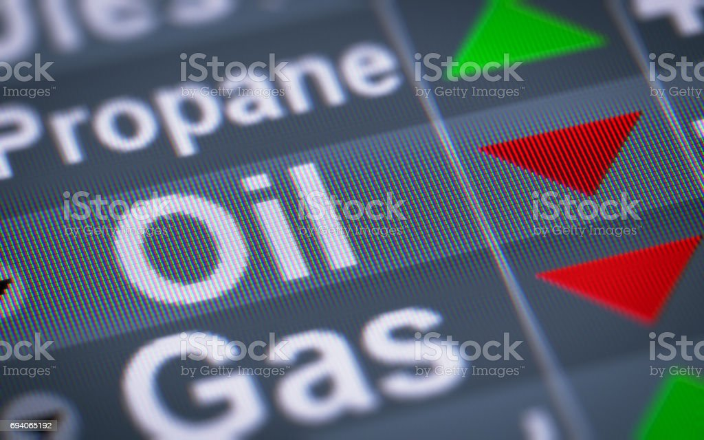 The Index of Oil. Down. stock photo