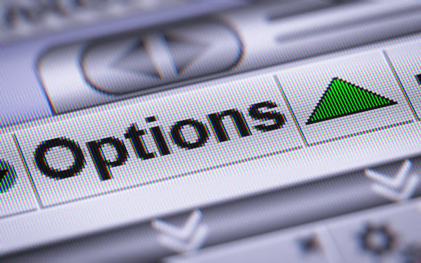 The Index of Options on The Screen. stock photo