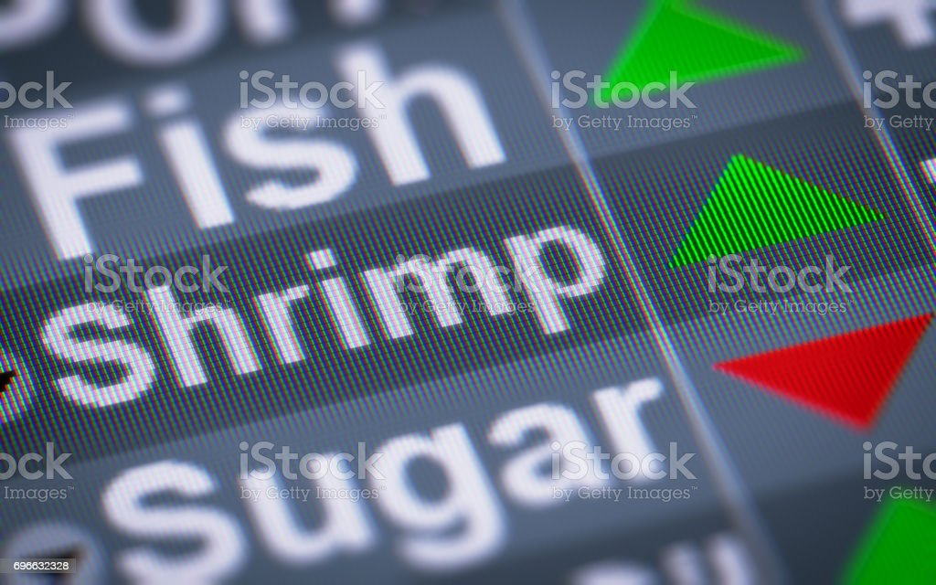 The Index of Shrimp on The Screen. stock photo