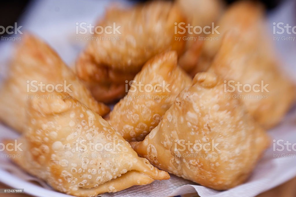 The indian samosa's on an indian style stock photo