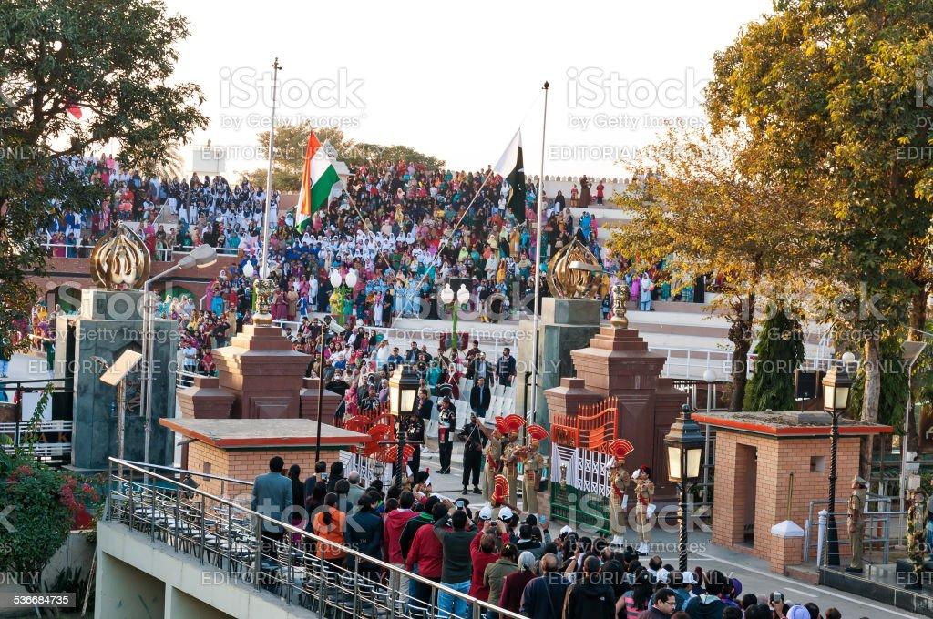 The India-Pakistan Wagah Border Closing Ceremony stock photo