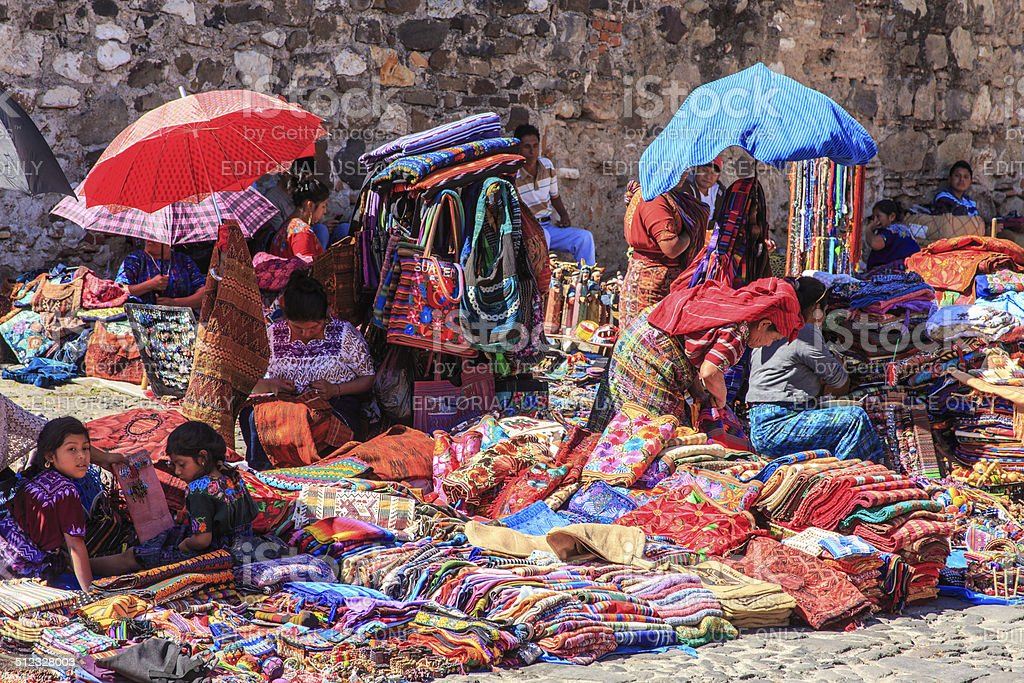The indigenous people of Antigua, Guatemala stock photo