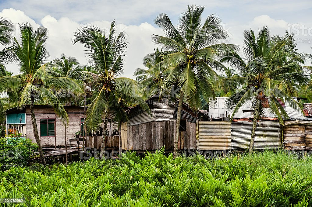 The indonesian poor houses. stock photo