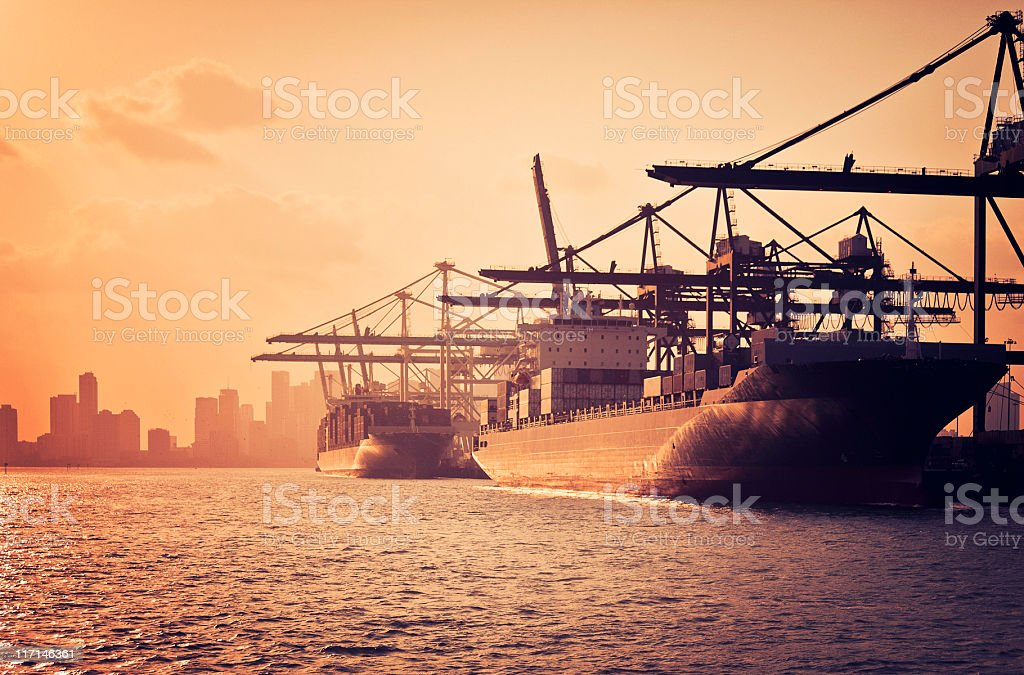 the industrial port of miami royalty-free stock photo
