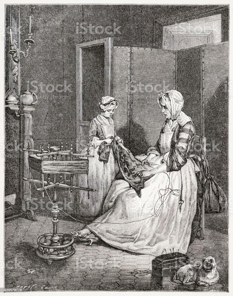 A mãe diligente do século 18 na França - foto de acervo