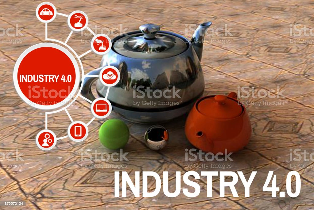 The industry 4.0 concept 3 dimension figure kettles stock photo
