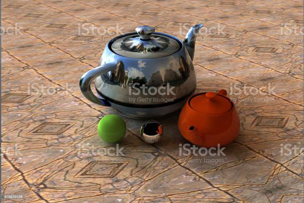 The industry 4.0 images 3 dimension figure kettles stock photo