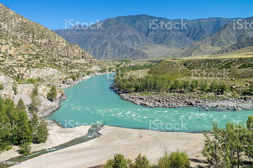 The inflow of Katun river. Altai Mountains, Russia. stock photo