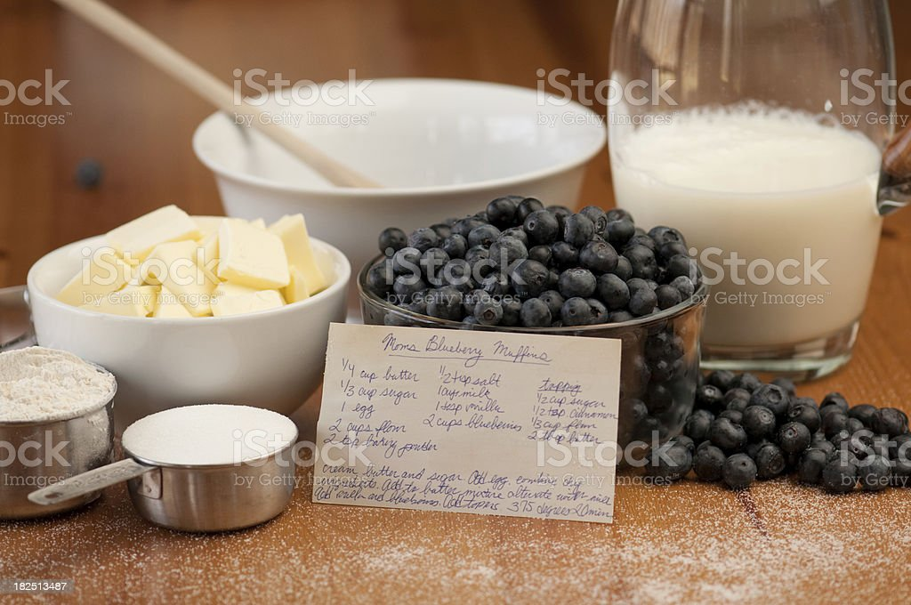 The ingredients and recipe for baking fresh blueberry muffins. stock photo