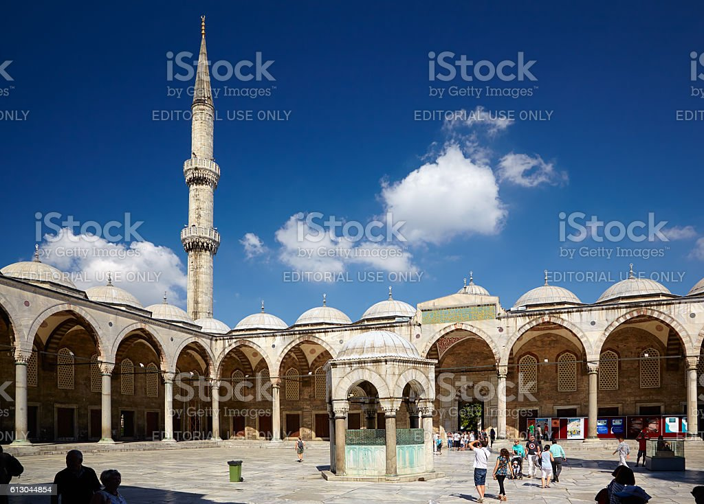 The inner courtyard of Sultan Ahmed Mosque (Blue Mosque), Istanbul stock photo