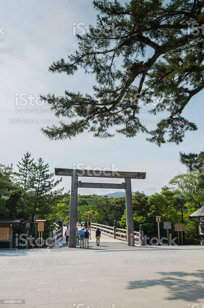 The Inner Shrine (Naiku) of Ise Jingu. stock photo