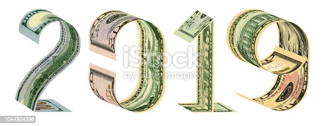istock The inscription 2019 made of 100, 50, 20, 10 dollar banknotes 3D rendering 1044934398