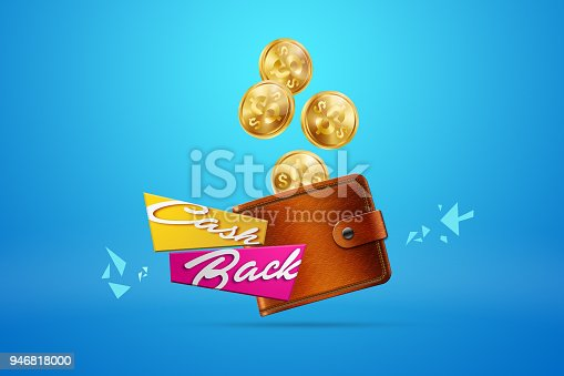 istock The inscription Cash Back, an image of the emblem and gold coins on a blue background. Business concept, money back, finances, customer focus. White, pink, gold color. Illustration, 3d. 946818000